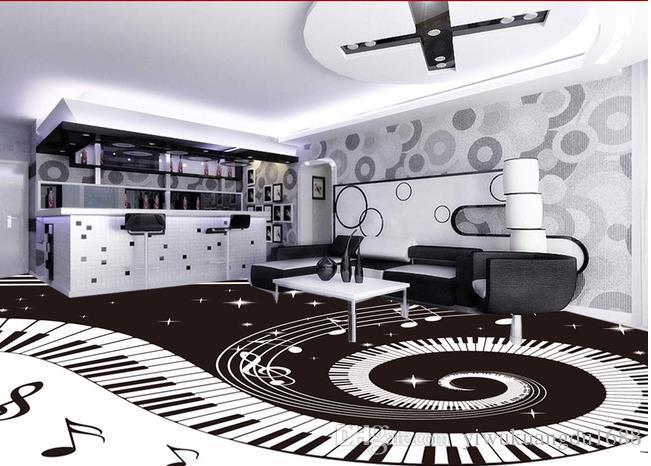 검은 벽과 흰색 피아노 키를 사용하여 욕실 벽면 방수 벽지 그리기