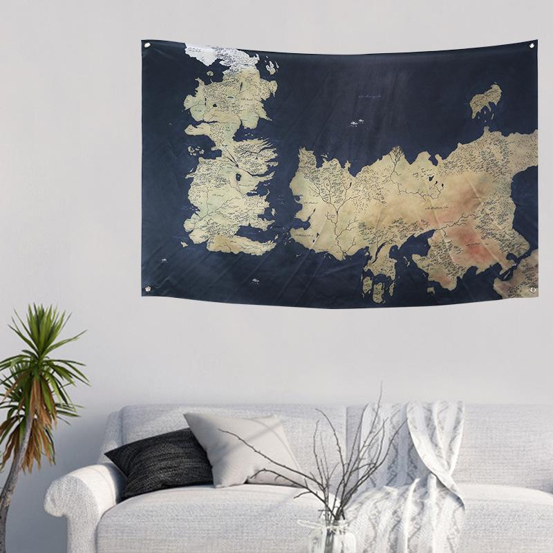 Westeros and The Free Citie Game of Thrones Map Flag House Banner Stark Wall Hanging Bar Home School Cosplay Party Decor Big Day SH190920