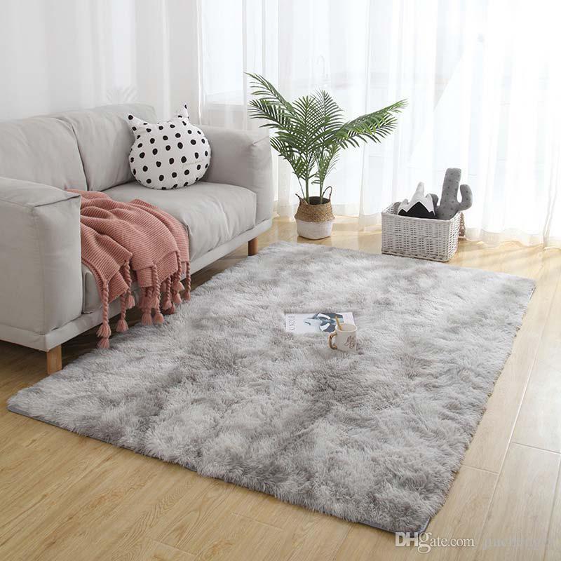 Großhandel Weiche Tie Dye Teppichboden Schlafzimmer Matte Farbverlauf  Flauschigen Teppich Wohnzimmer Teppich Flur Matte Rutschfeste Teppiche ...