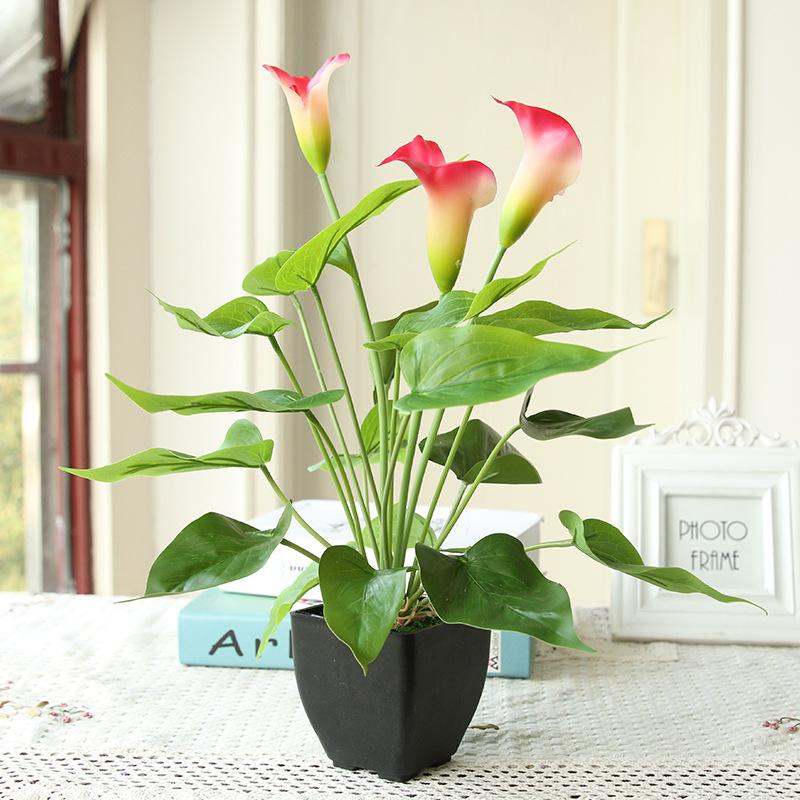 2020 Simulation Green Plant Small Potted Fake Flower Feel Calla