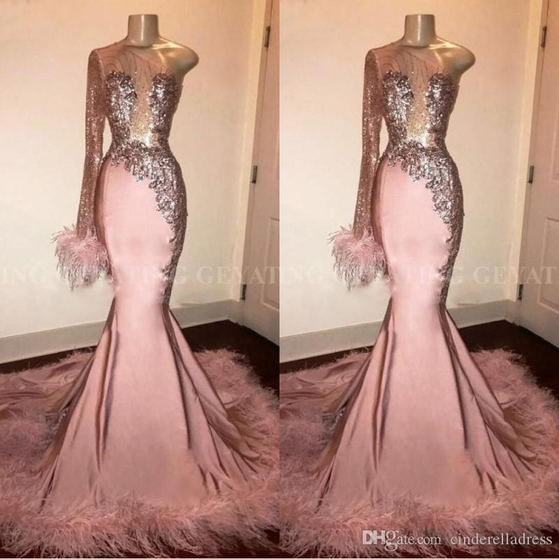 African Glitz Pink Mermaid Prom Dresses 2020 One Shoulder Lace Applique Sweep Train Plus Size Sequins Feather Evening Gowns robes de soirée