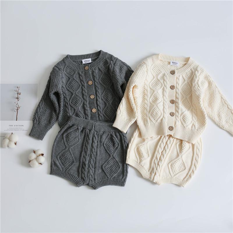 아이들 소년 소녀 스웨터 Clothng Sets Long Sleeve Cardigans 스트랩 반바지 2 개 정장