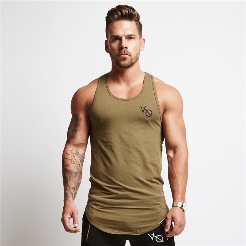 Mens Tops D'été D'impression Minimal Sans Manches En Coton De Gymnases De Vêtements Bodybuilding Undershirt Golds Fitness Tank Q190522