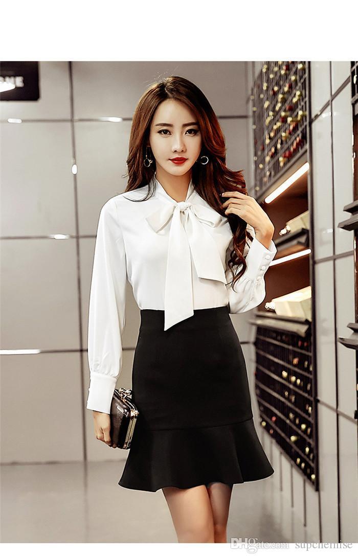 Лента Лук однобортный лето офис леди Рубашки Контрактные Атмосфера женская с длинным рукавом женской одежды