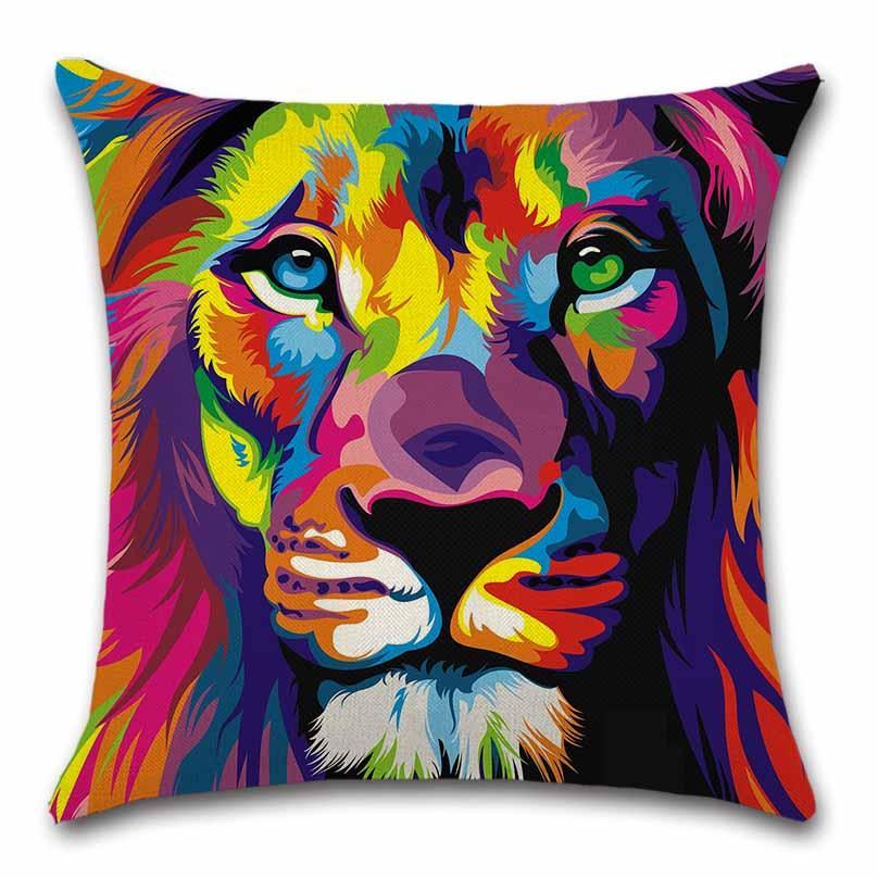 León impreso Animales colorido cojín cubierta Throw Decor Silla asiento sofá Decorativo Hogar amigo de los niños sala de estar regalo Funda de almohada