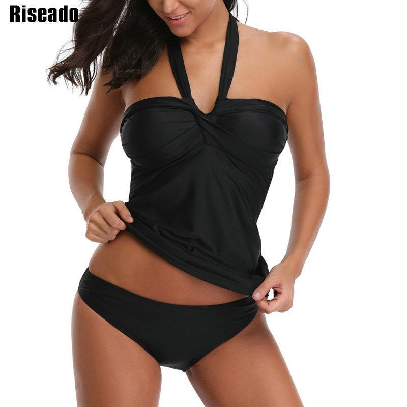 Riseado Push Up Swimwear Women Halter Two Piece Swimsuit 2019 Solid Sexy Bathing Suits Tankini Set Summer Beachwear Y19072701