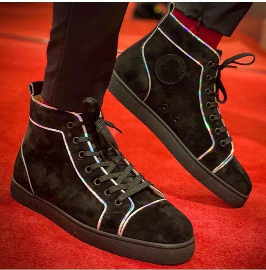 EU35-47 casamento instrutor partido do Designer de luxo preto Suede Leather Casual Walking Marca Homens Red inferior Sneakers Paris Men High Top