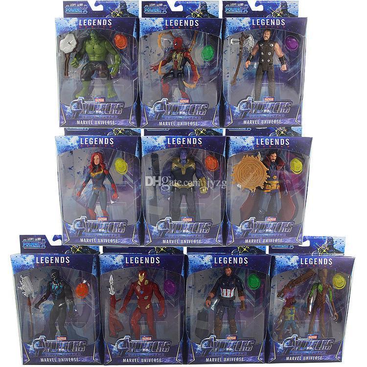 10шт / комплект Marvel игрушки Мстители Рисунок со светодиодом супергероя Бэтмена Капитан Америка Действие Рисунок Коллекционные модели Doll