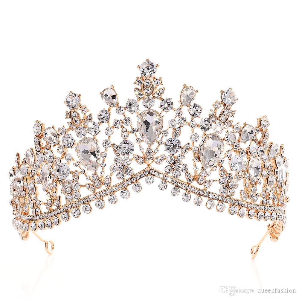 Luxo Rhinestone Tiara Coroa de cristal Acessórios para Cabelo nupcial Headpieces casamento Quinceanera Pageant Prom Queen Tiara princesa
