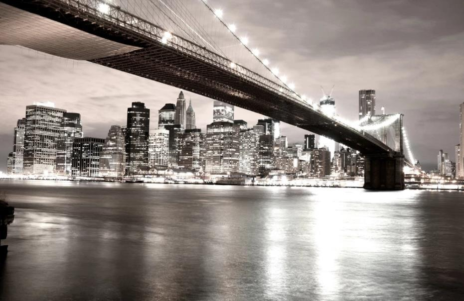 Tapeten für Zimmer amerikanische Stadt leben Tapeten Brücke Nacht Ansicht 3D Schwarz-Weiß klassische Hintergrund Wand