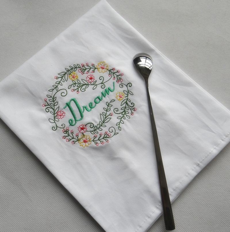 مطرز المناديل رسالة القطن الشاي المناشف ماص الجدول المناديل مطبخ استخدام المنديل بوتيك الزفاف القماش 5 تصاميم WZW-YW3845