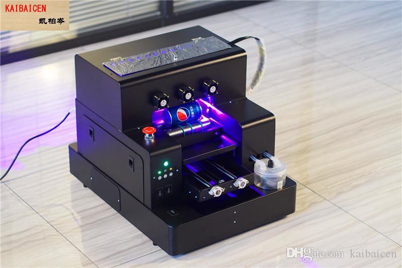 KAIBAICEN 자동 A4 평판 및 원통형 UV 잉크젯 프린터 A4 판 목재 / 금속 / 유리 / 전화 케이스 / 병 IR 센서 포함 팬 포함