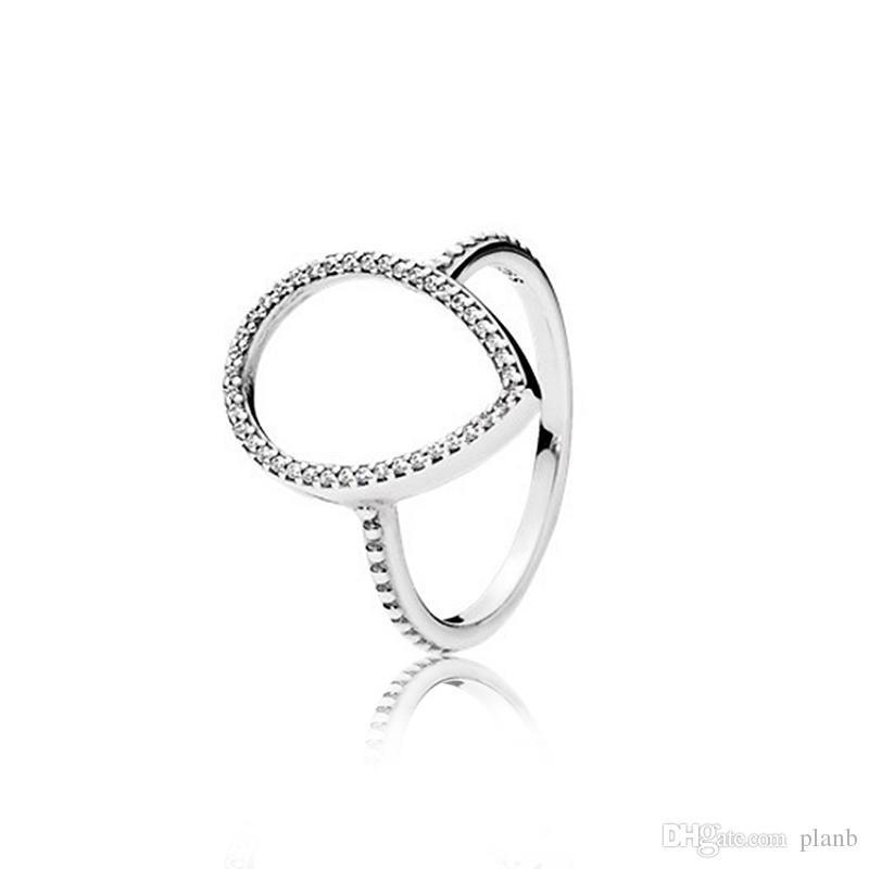925 Sterling Silver a goccia da sposa set anello box originale per Pandora CZ cave di diamanti a goccia Anelli per gioielli regalo delle donne