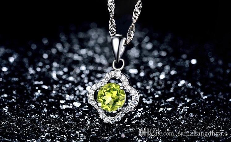 Valentinstag Geschenke Top-Qualität Sterling Silber Anhänger S925 Anhänger Halbedelstein Peridot A2 gem Frauen silberne Halskette