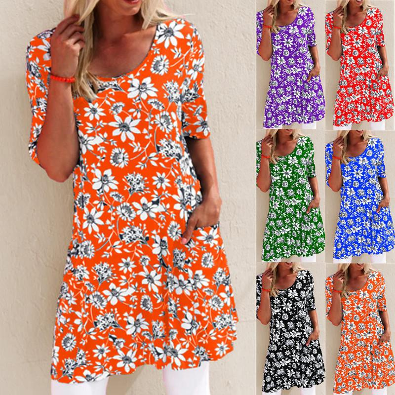 Women's Summer Floral Printing Loose Waist Short Sleeve Round Neck Pocket Casual Pullover Short A-Line Dress