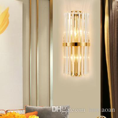 Luce della parete moderna LED creativo di cristallo dell'oro di disegno della decorazione della casa apparecchio di illuminazione Camera da letto Corridoio del riparo della parete della lampada