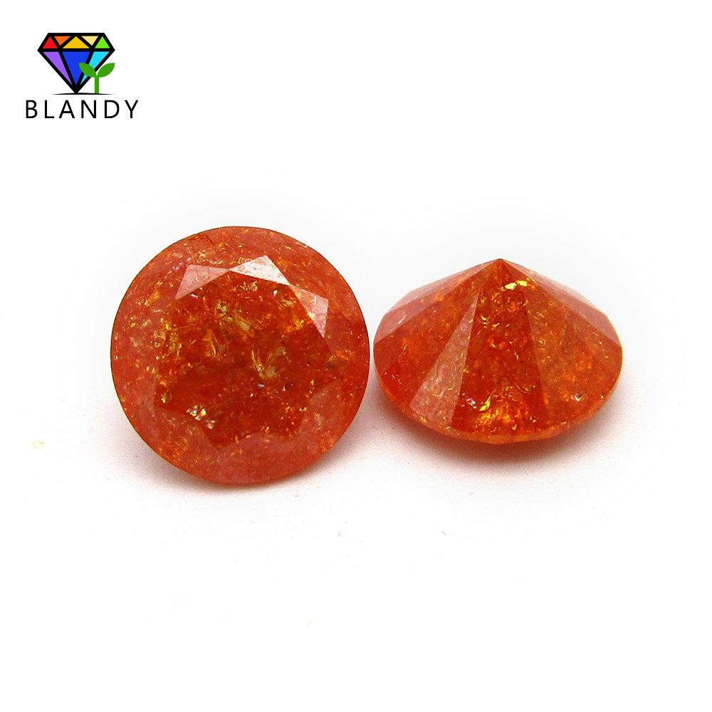 5A 5mm Loose Orange Color Ice Treatment Cubic Zirconia Stones 8mm Round Machine Cut Synthetic CZ Stone For Silver Earring Studs