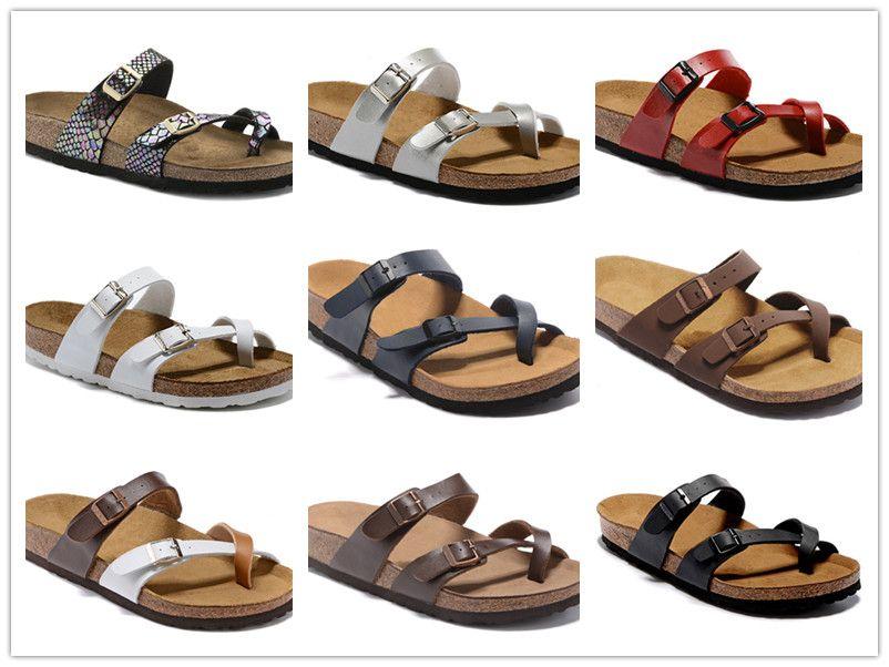 Vente Hot Famous Brand Arizona Sandales plates homme Chaussures Casual Male Boucle Plage d'été de haute qualité en cuir véritable Chaussons Chaussures femmes