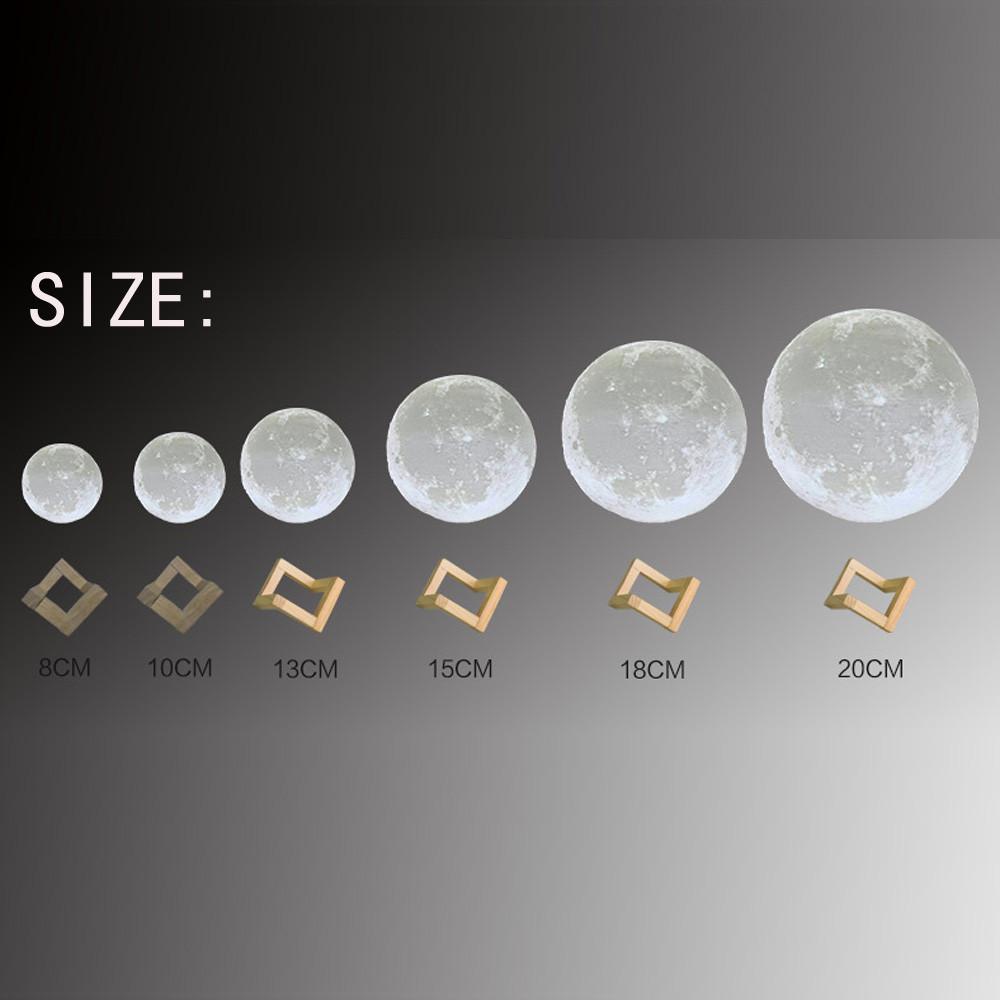 La magia de la Luna Llena de luz LED 3D de impresión de la luna de la lámpara del sensor táctil Desk Lamp Lunar regalos de Navidad cambiante colorido USB Amarillo Blanco