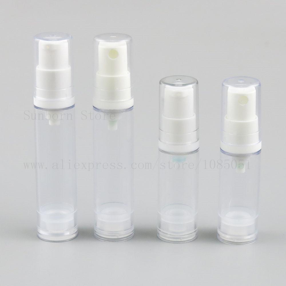 500 x Mini Temizle Havasız Pompa Şişe Losyon Püskürtme Şeffaf şişeleri 5/10/12 / 15cc makyaj Kozmetik ambalaj kapları