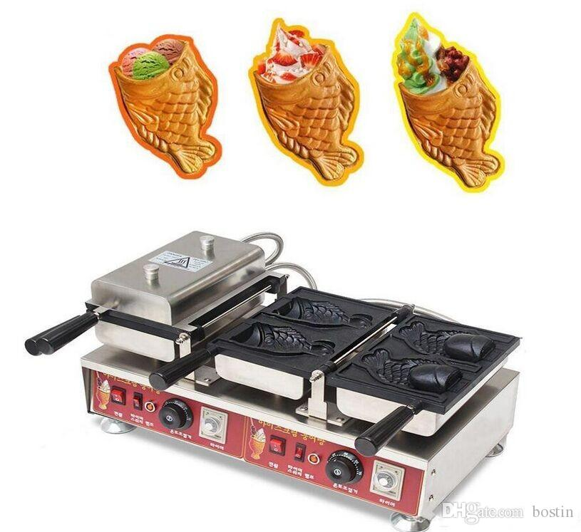 110v 220v cola de pescado galleta de crema máquina de hielo Taiyaki máquina para la boca abierta