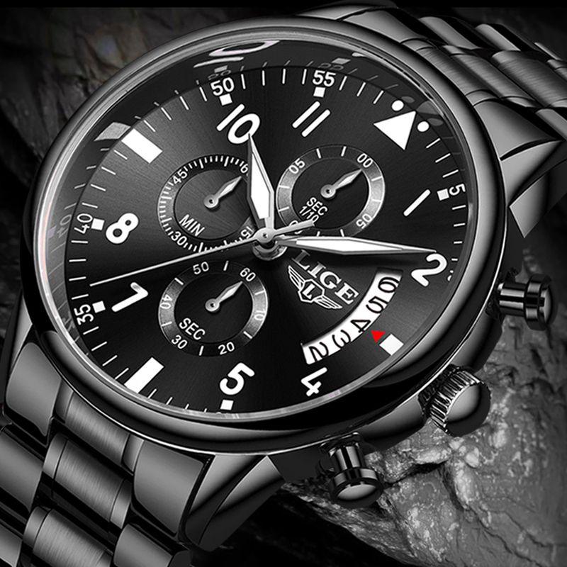 Erkek Saatler Lige En Moda İş Kuvars İzle Erkekler Spor Tamamen Çelik Su geçirmez Siyah Saat erkek kol saati + Kutu