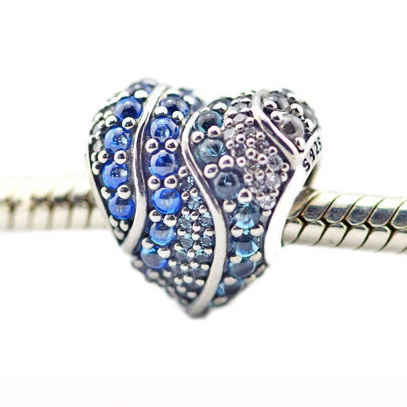 925 libras esterlinas grânulos de Fits brilhante do Aqua Coração Azul de Londres CZ Pandora charme pulseira DIY por Mulheres Moda Jóias e Acessórios