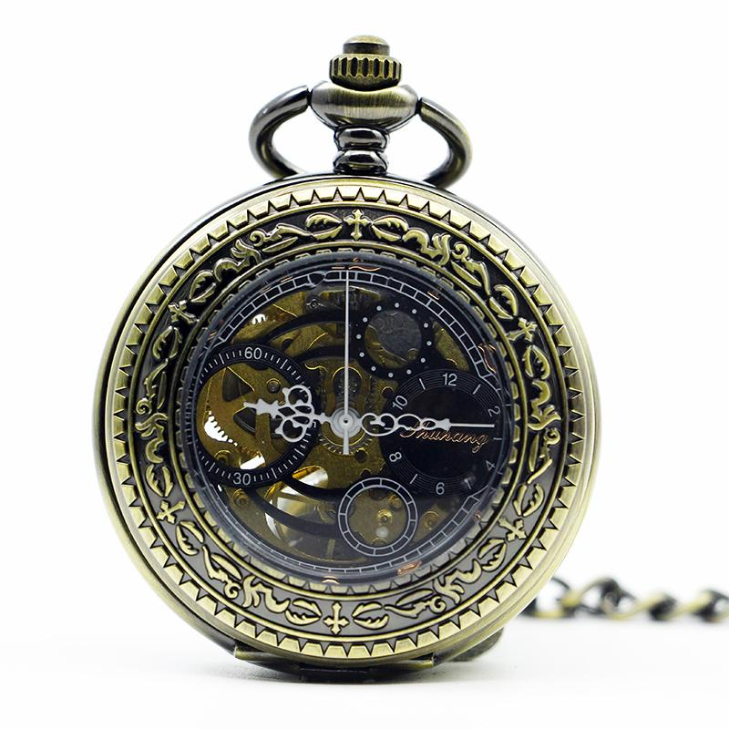 Orologio da tasca meccanico cronografo meccanico da taschino a mano in bronzo con pendente a forma di donna. PJX1287
