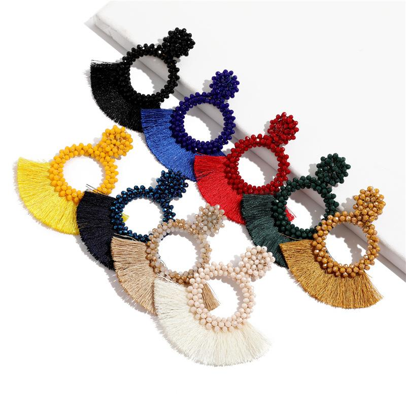 Vintage böhmische Quaste baumeln Ohrringe Frauen handgemachte lange Fransen Kristall Perlen Hoop Drop Ohrring Anweisung Schmuck Geschenk TTA1592