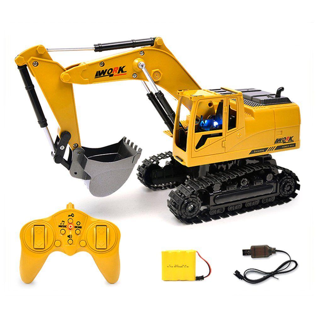 2.4G oito vias Alloy Escavadeira 01:24 controle remoto sem fio da máquina escavadora criativa portátil Toy Ambiental RC Truck Toy Modelo