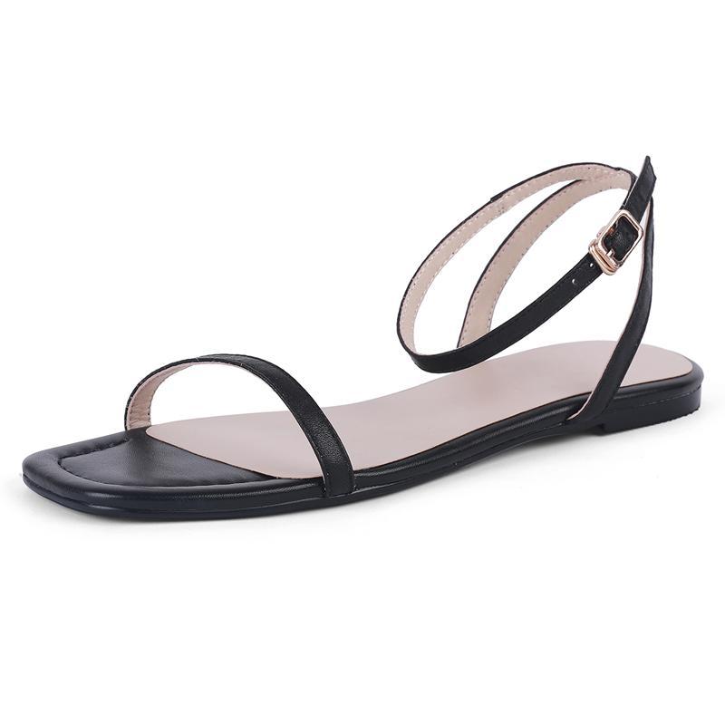Sandalias Mujeres Planos Cuero genuino Verano Damas Sandalia Casual Mujer Tobillo Correa Blanco Rojo Rojo Negro Cómodo Zapatos