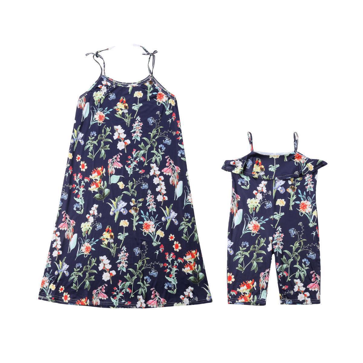 Floreale dei vestiti dalle donne di corrispondenza mamma Famiglia Strap Abito Madre Figlia maniche estivo carino Kid Plus Size Ragazze 2-12T