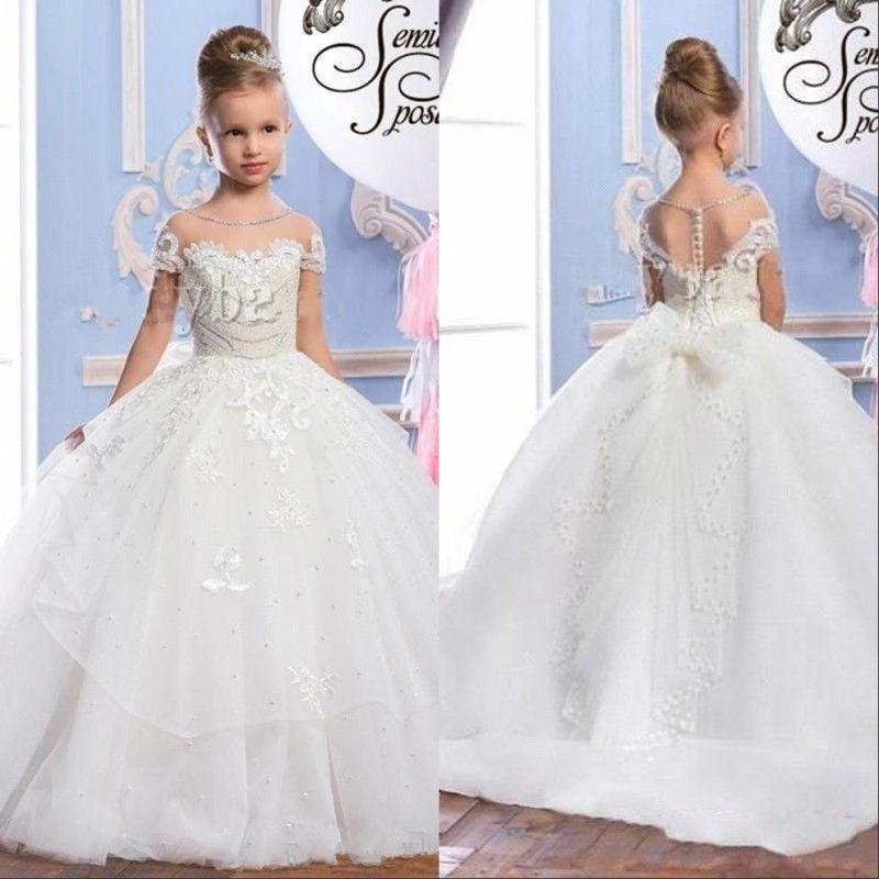 Pearls Lace Sheer Hals Tüll Arabische Blumenmädchenkleider Sheer Hals Vintage Schöne Kinder Pageant Kleider Für Hochzeiten