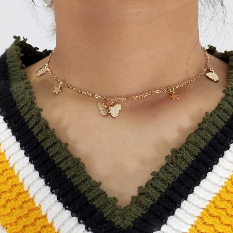 Маленькие животные бабочки звезды ожерелья Для женщин горячие продажи золото серебро цвет короткие цепочки ожерелья женский колье воротник ожерелье ювелирные изделия