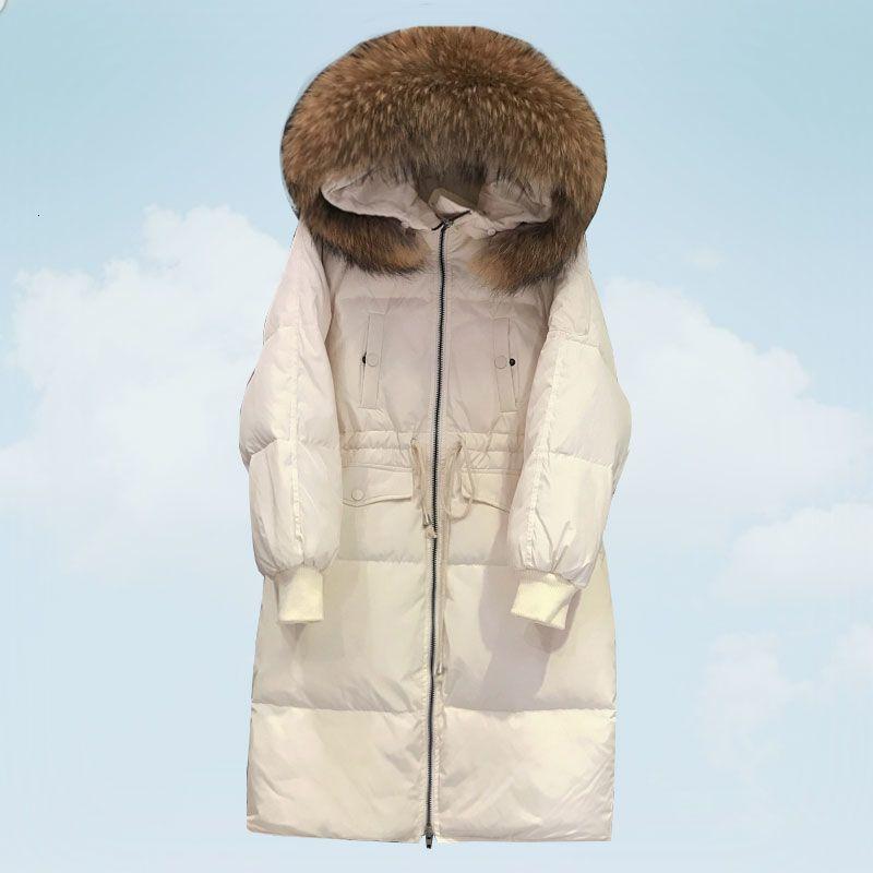 Parkas com capuz Down Jacket Coats 2019 Inverno Mulheres Mid Longo Big real Fur Colarinho Branco Pato Brasão de Down solto Overcoat Feminino HS792 T191118