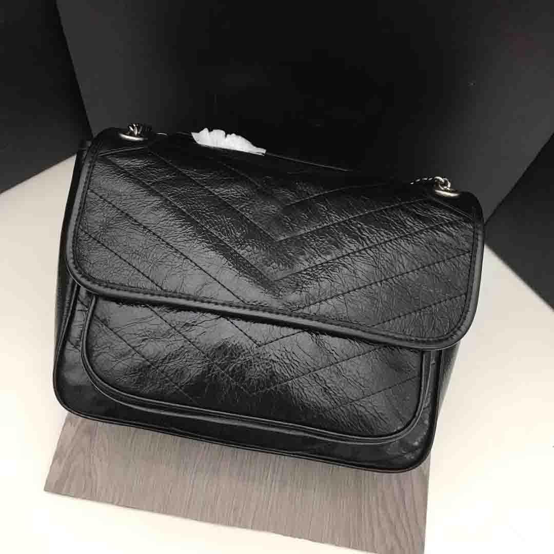 Classic Luxury Bag Borse Delle Donne Del Cuoio Genuino Olio Cera Pelle Bovina Flaps Catena Borse Della Signora Messaggero Della Spalla Borse Del Progettista Flap bag