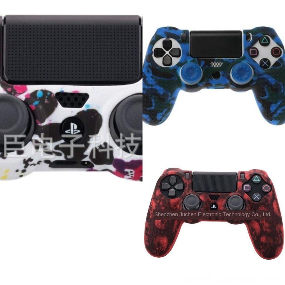 Playstation çift PS4 Silikon İnce Kontrolör vakalar + Thumb Çubuk Kabze kapaklar için 3SZQS 4 renk Yumuşak Pro Kılıf Kapak