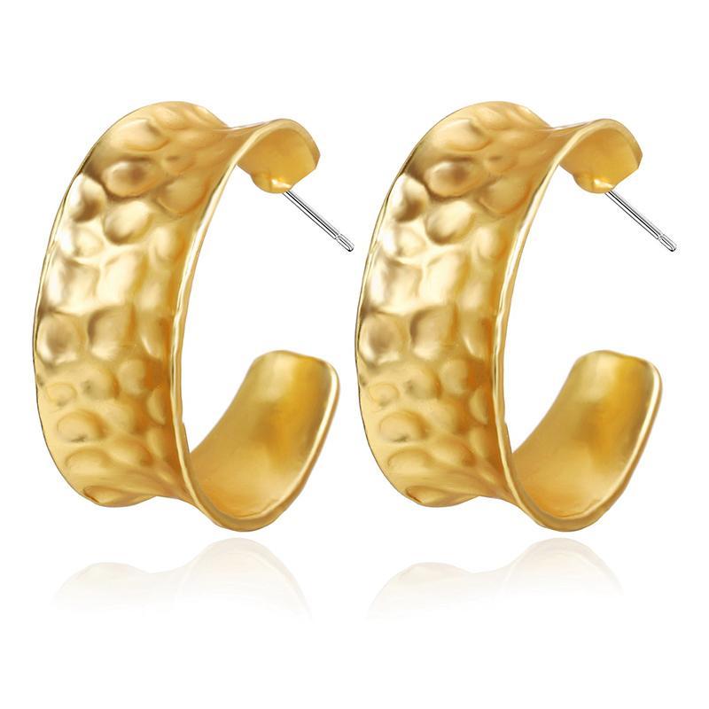 금속 둥근 원형 C 모양 장식 못 귀걸이 여자를 위한 여성 간단한 금 색깔 기하학적인 귀 장식 못 귀걸이 큰 장신구 보석