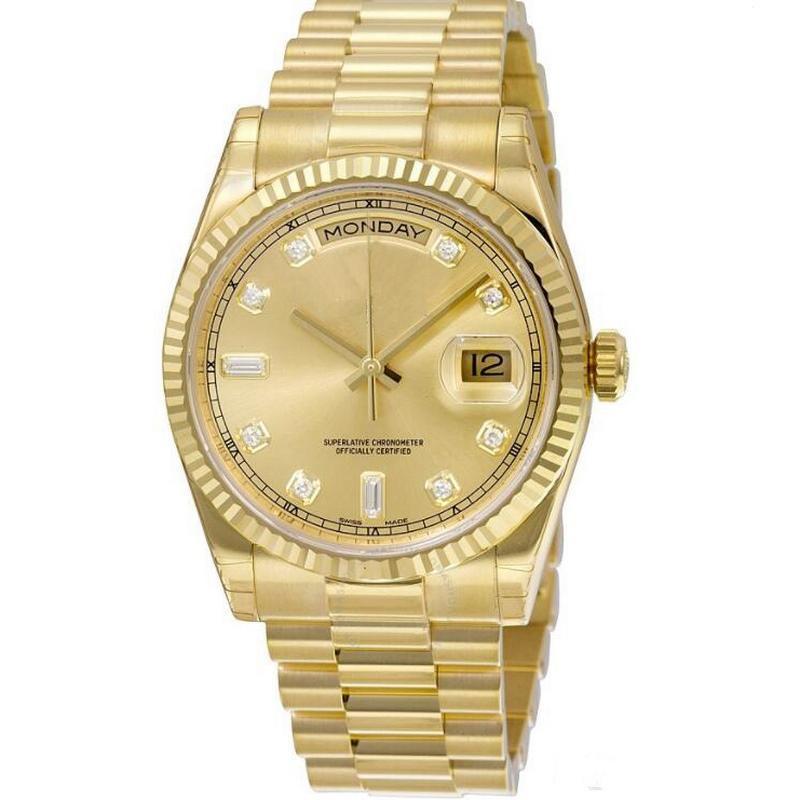 orologio all'ingrosso orologio DAY DATE orologio meccanico da uomo 40MM Lunetta in acciaio inossidabile Orologio da polso in acciaio inossidabile senza batteria