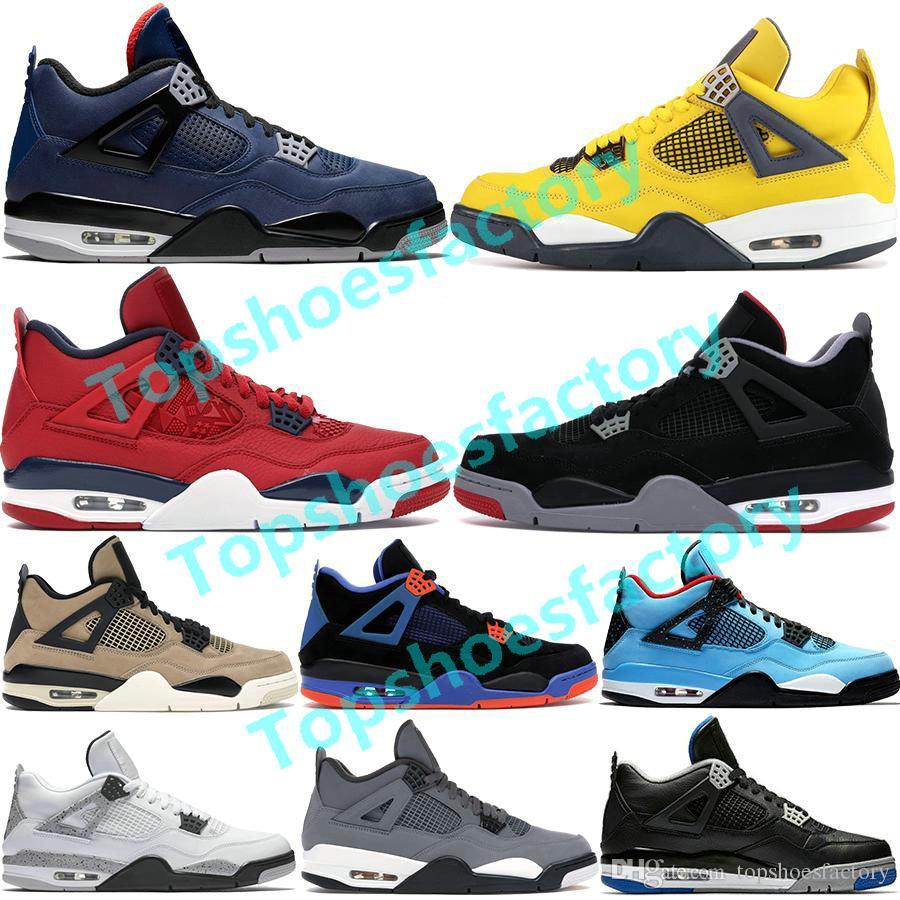 Top Jupman 4 4S أحذية كرة السلة للرجال 2020 ما أسود القط الرعد الشتاء الموالية مصمم الأزرق أحذية رياضية الحجم 5.5-12.5