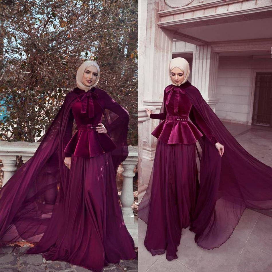 Newest A Line Muslim Evening Dresses With Cape High Neck Long Sleeve Chiffon Skirt Abric Dubai Formal Gowns Custom Made Long Prom Dress Australia 2020