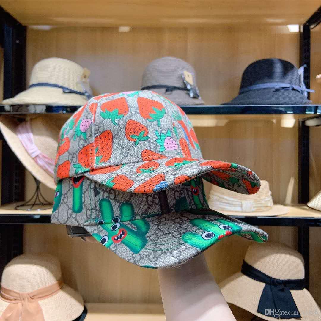 Lettre chaude classique casquette de baseball imprimé fraise femmes célèbres Coton Sport Golf réglable Crâne courbé de haute qualité cactus Chapeau de soleil