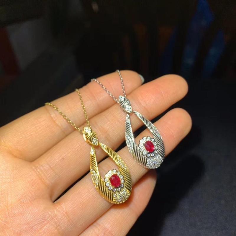 Nuevo collar de rubíes natural de plata 925 certificado de inclusión chapado en oro de joyería de alta gama
