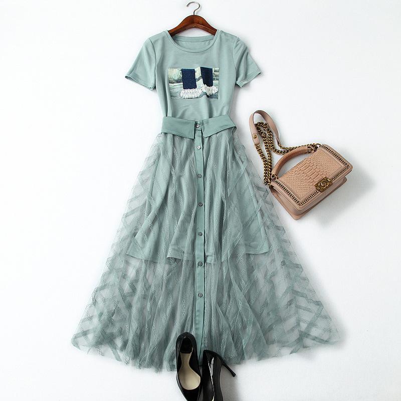 TiLeewon 2019 Summer Dress Set Длинная Футболка С Платьем Свежий Пот Костюмы Для Женщин Наборы Одежды
