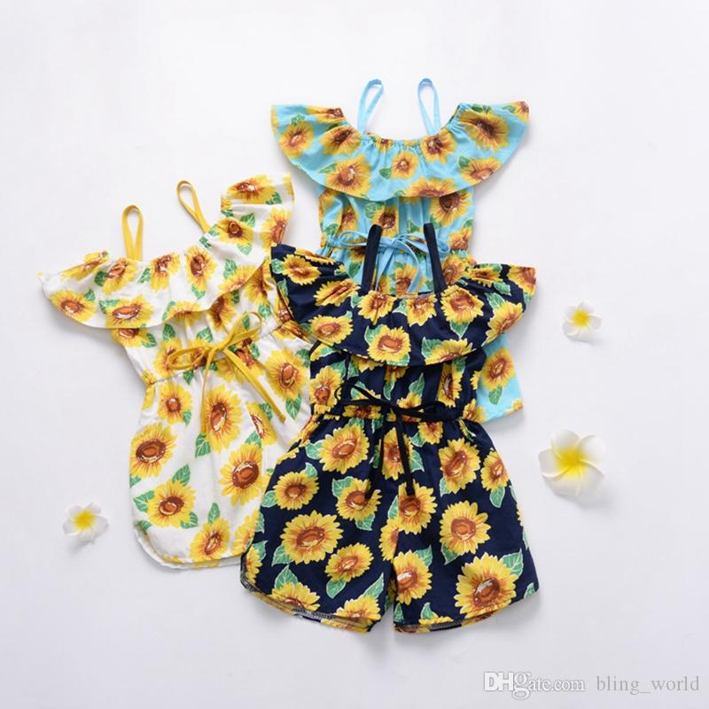 Baby Girl Clothes Sunflower Girls Rompers Suspender Toddler Jumpsuits Sleeveless Infant Climbing Clothes Summer Baby Clothing 3 Color YW4118