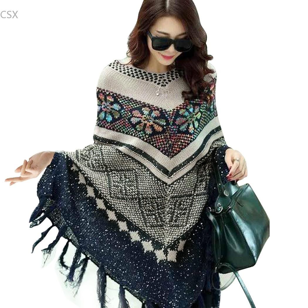 European Women Pullover Knitwear Geometrical Pattern Sweater Cloak Poncho Cap Sweater Tassel Women Knit Top Drop Shipping 41
