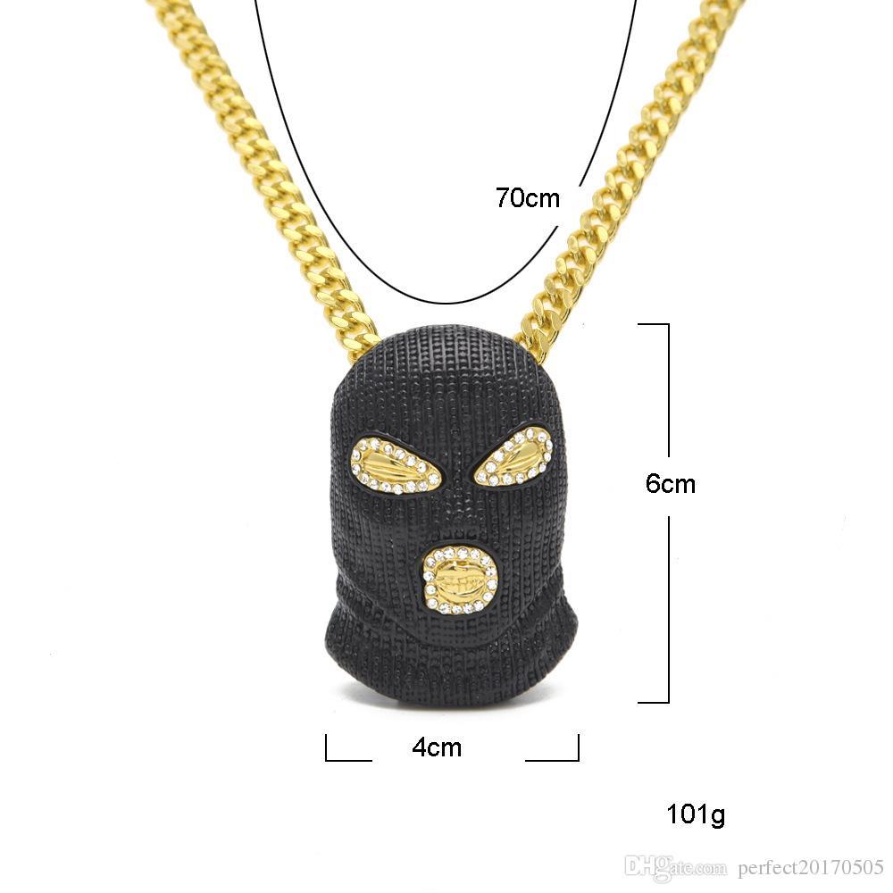 Hip Hop CSGO Anhänger Halskette Herren Punk Stil 18 Karat Legierung schwarz gun Überzogene Maske Kopf Charme Anhänger Hohe Qualität Kubanische Kette