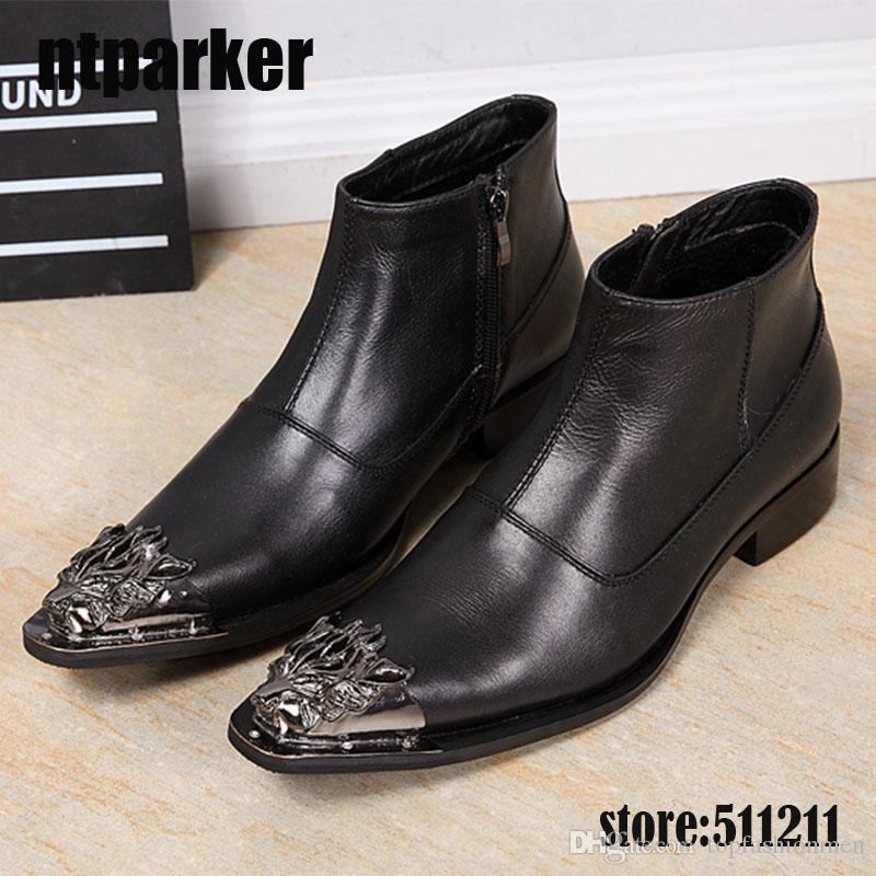 Nouvelle arrivée hommes bottes cheville style britannique noir en cuir véritable homme robe bottes en cuir pointe de fer en cuir zapatos de hombre, grande taille EUUS6-12