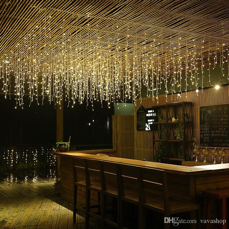 1PC Capodanno 3.5M Droop 96 LED Curtain Ghiacciolo String Lights 8 modalità Fairy Garland per la decorazione di Natale all'aperto
