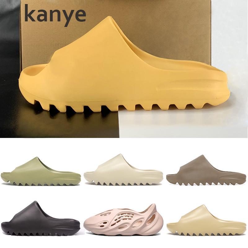 Kanye sandales hommes femmes chaussures pantoufle os blanc résine désert sable terre marron mousse coureur Triple noir blanc rouge hommes plage diapositives